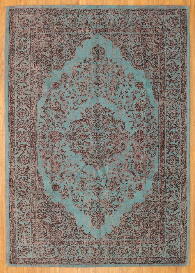 Handmade Wool and Cotton Indian Kashan Rug - Size 245cm x 170cm