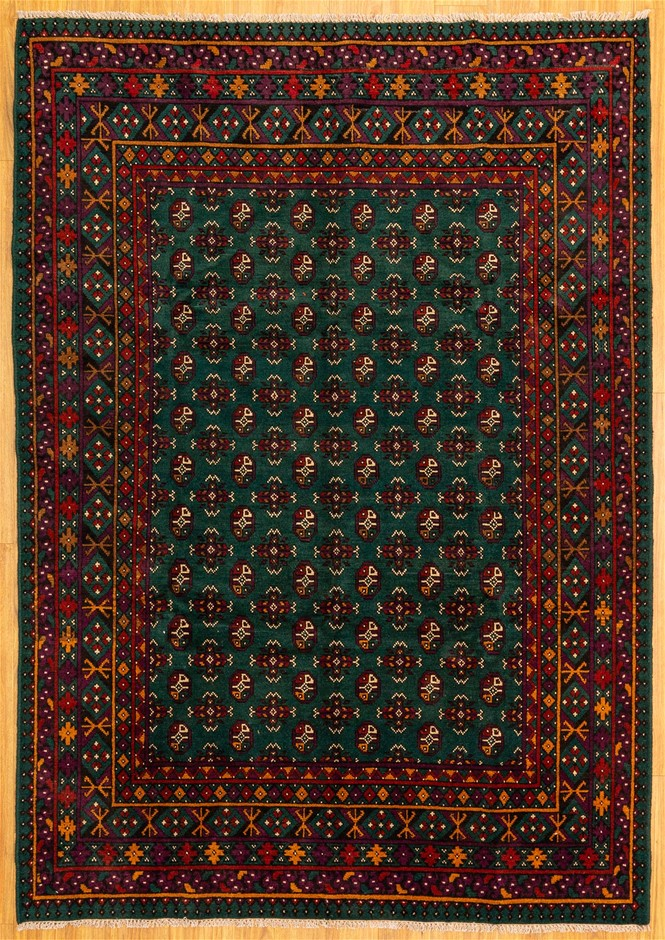Handwoven Pure Wool Persian Turkoman Rug - Size 290cm x 200cm
