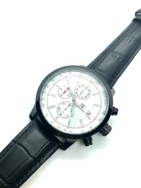 BENYAR Watch Chronograph Sport Men Quartz Genuine Black Leather