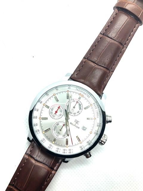 BENYAR Watch Chronograph Sport Men Quartz Genuine Brown Leather