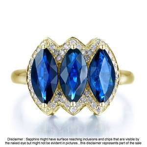 9ct Yellow Gold, 3.20ct Blue Sapphire an