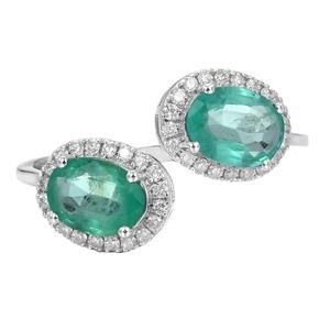 9ct White Gold, 1.52ct Emerald and Diamo