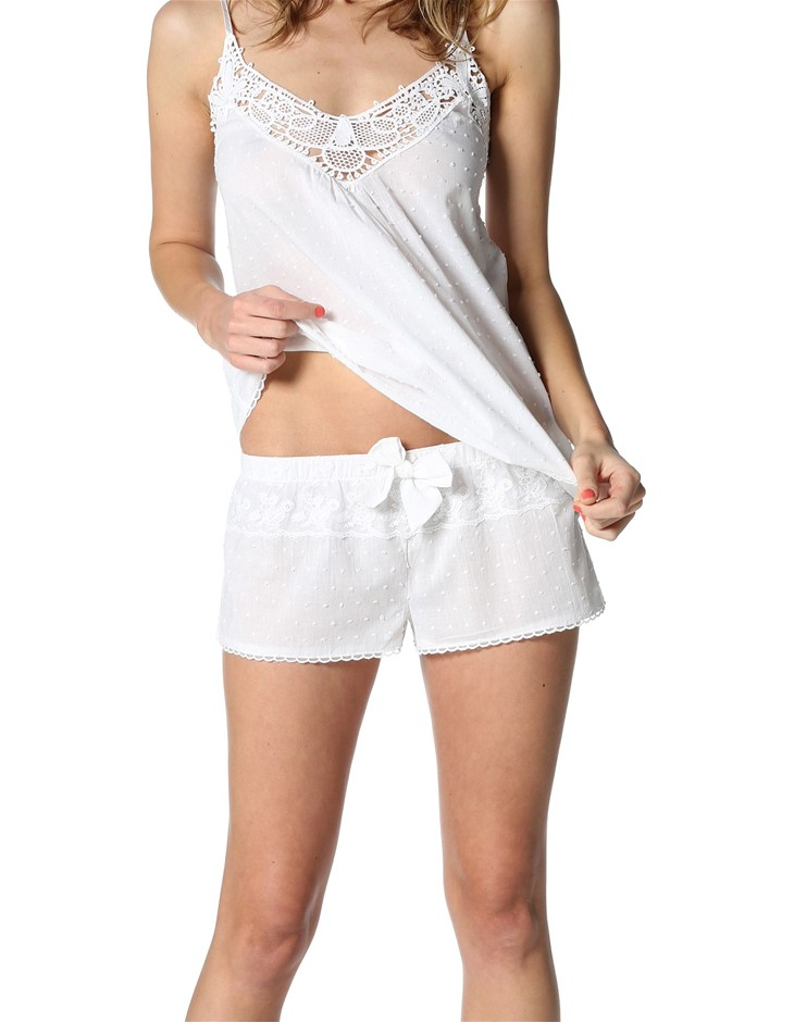 PAPINELLE Swiss Dot Camisole. Size M, Colour: White. Buyers Note - Discount