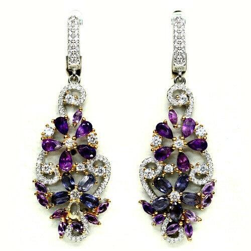 Beautiful Unique Genuine Amethyst & Iolite Drop earrings.