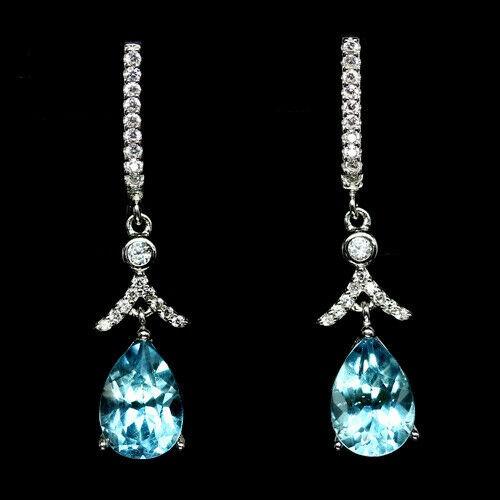 Beautiful Genuine Sky Blue Topaz Drop earrings.