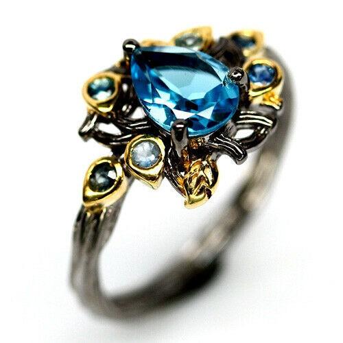 Beautiful Genuine Sapphire & Topaz Ring.