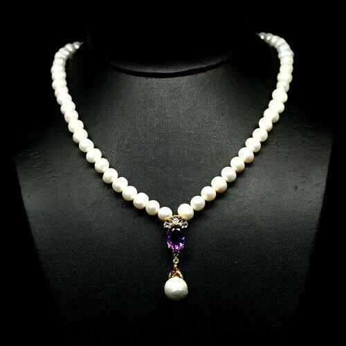 Spectacular Genuine Pearl Tanzanite Ruby & Amethyst necklace.
