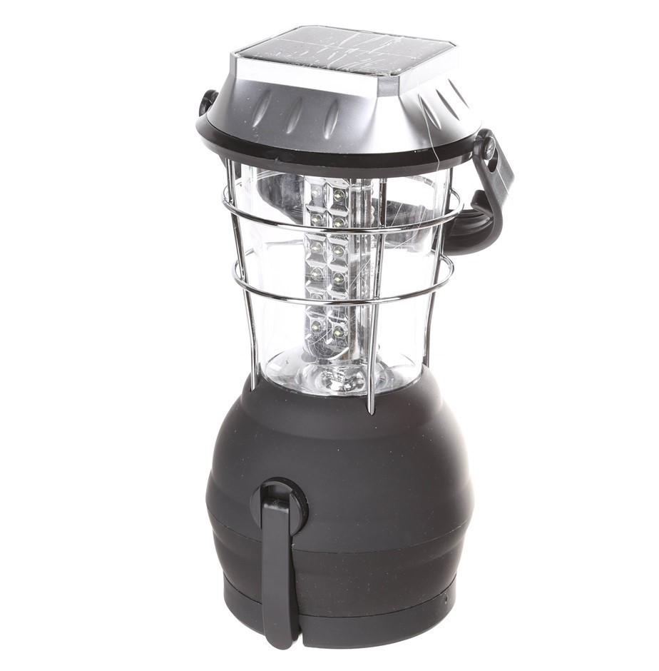 SOLAR 36 LED Lantern c/w Fold-Away Crank Handle, USB Socket, Rubber Casing.
