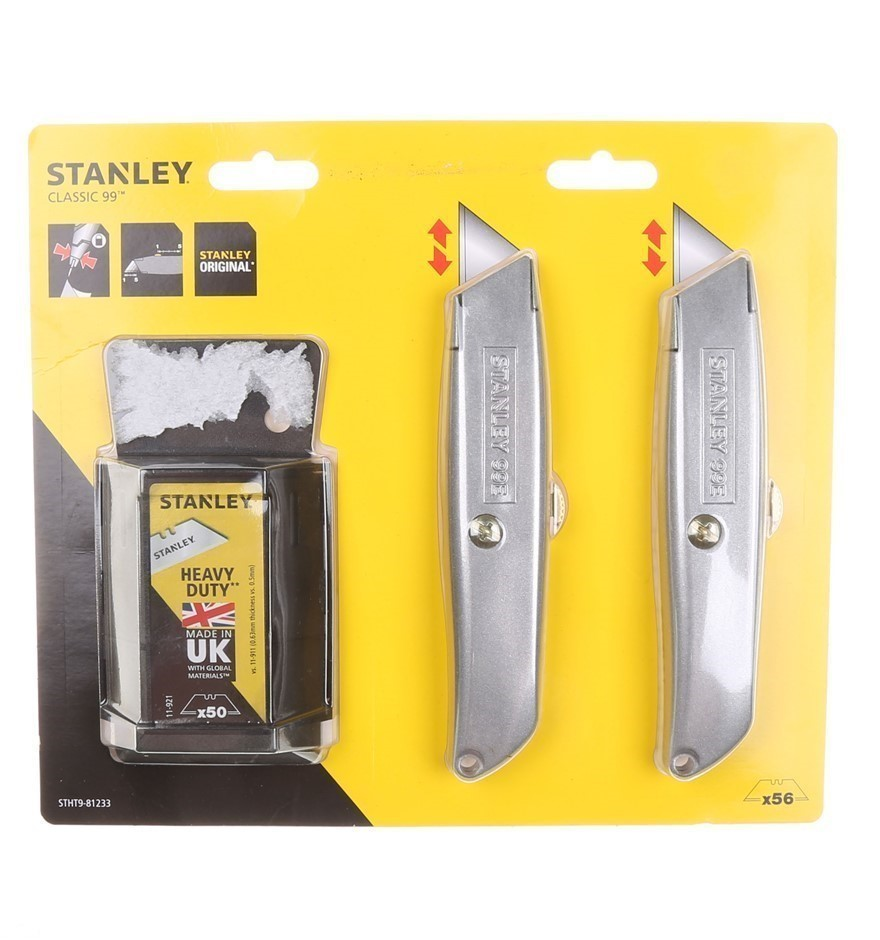 STANLEY Heavy Duty Twin Pack Knife Set c/w 50 x Spare Blades. Buyers Note -