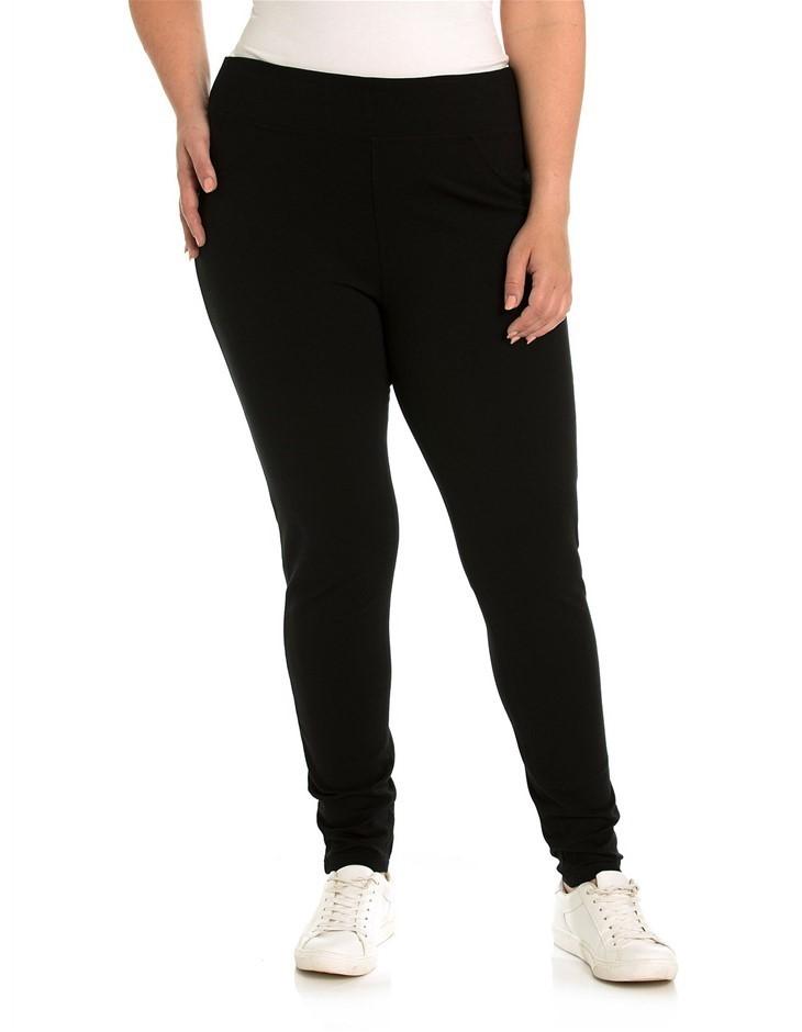 YARRA TRAIL PLUS Ponti Pant. Size M, Colour: Black. Viscose / Nylon / Elast