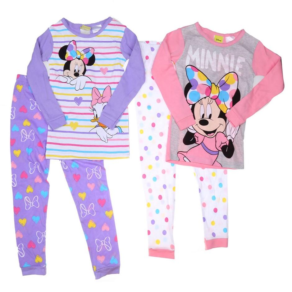 DISNEY Girl`s MINNIE MOUSE 4pc Sleepwear Set, Size 6, Cotton, Theme Print.