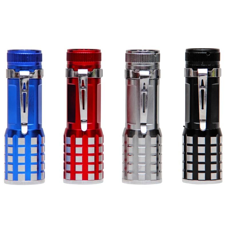 4 x LED Torch: Red, Blue, Silver, Black (10cm x 3cm)