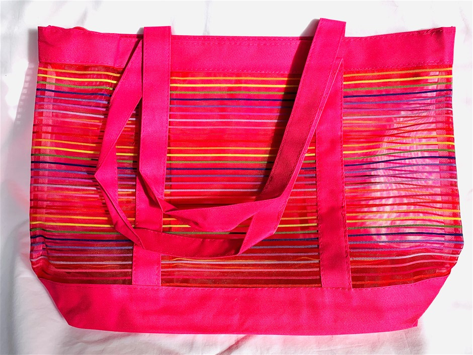 2 x Pink Striped Beach Bag (with zip enclosure) (47cm x 34cm x 12cm)