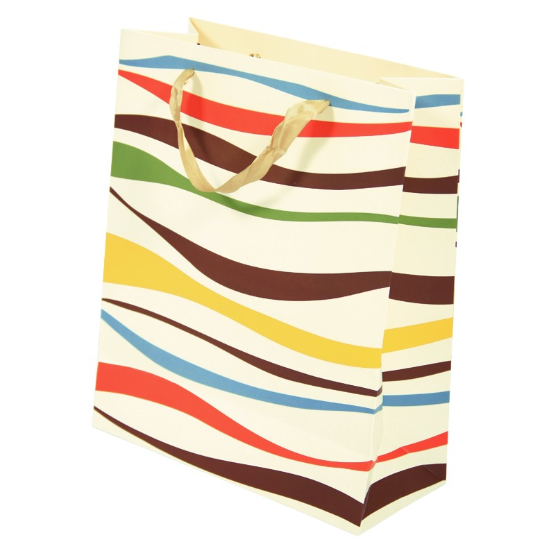 12 x Gift Bags (Large - 26x32cm) with Coloured Zebra Pattern