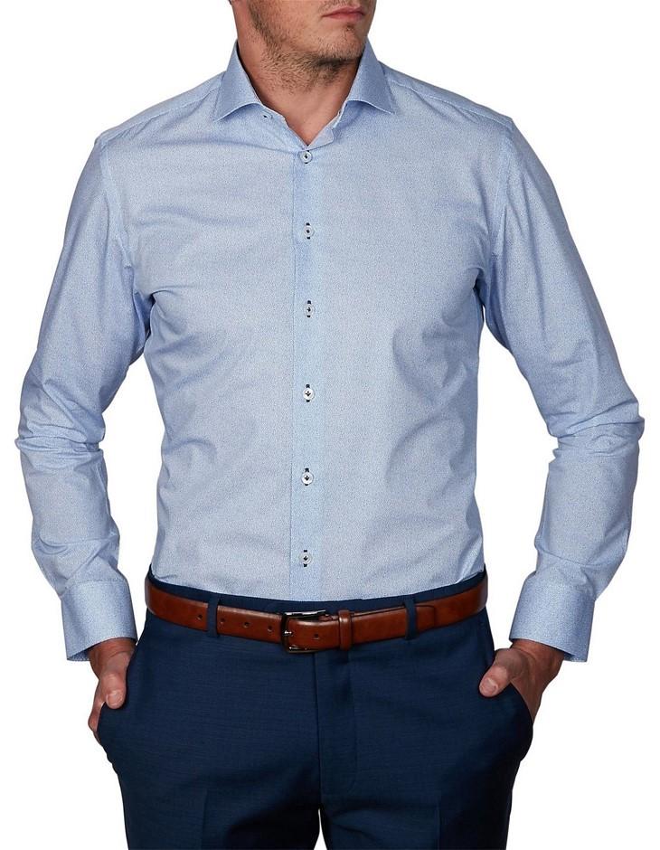 ABELARD Forgari Print Shirt. Size 41, Colour: Sky. 100% Cotton. Buyers Note
