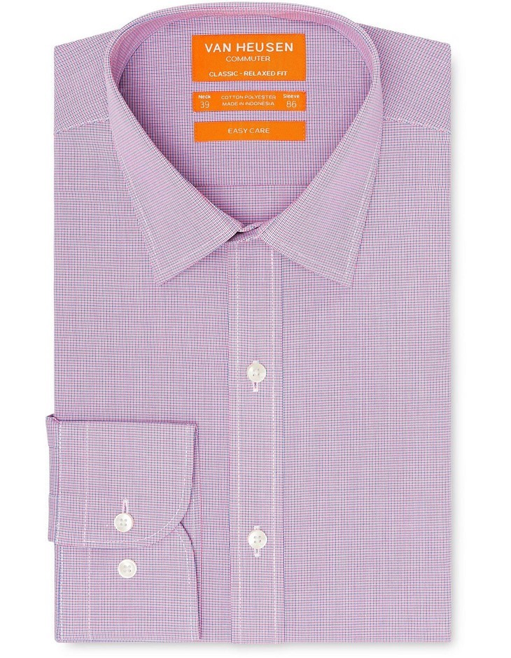 VAN HEUSEN Pink and Navy Micro Check Shirt. Size 46. Cotton. Buyers Note -