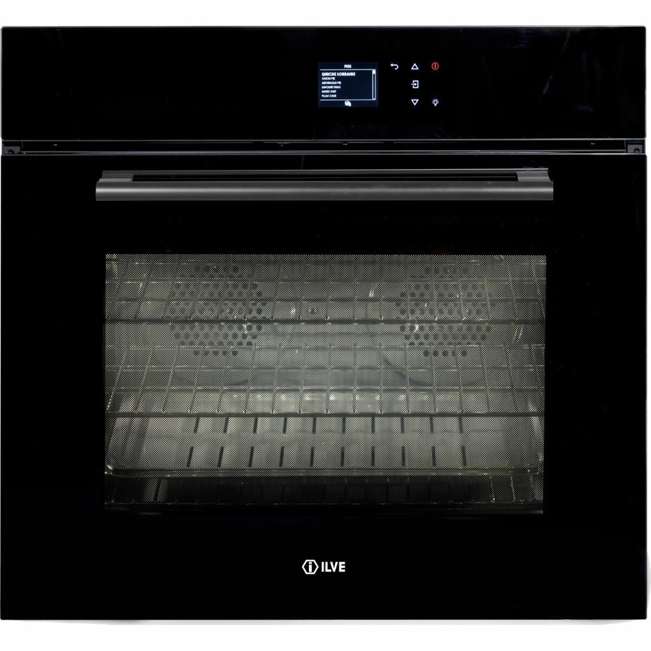 ILVE 76cm Built-in Pyrolytic Oven Black Glass (760SPYTCBV)