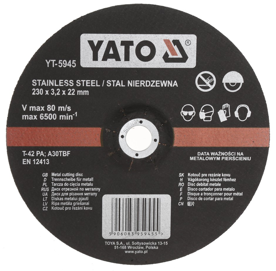 10 x YATO Stainless Steel Metal Cutting Discs 230 x 3.2 x 22mm. Buyers Note