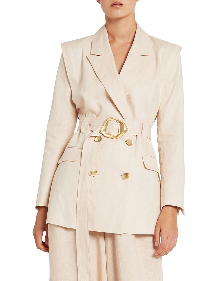 AJA Veruschka Jacket. Size 12, Colour: Natural. Linen. ORP: $495 Buyers Not