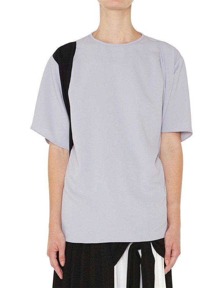 CHRISTOPHER ESBER Charli Tie Tee. Size 10, Colour: Dove/Black. ORP: $390 Bu
