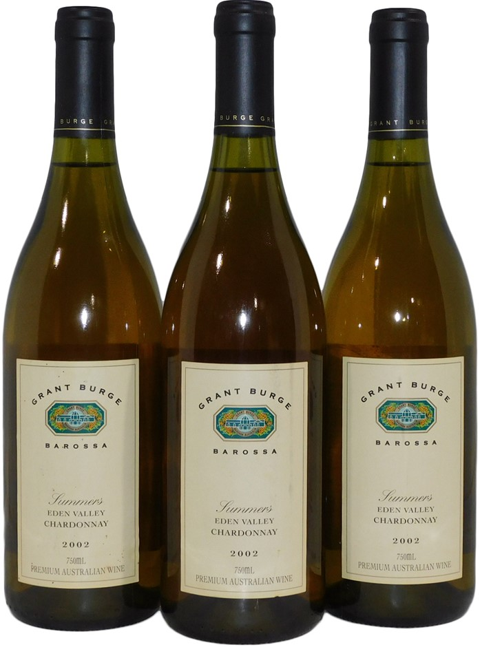 Grant Burge Summers Eden Valley Chardonnay 2002 (3x 750mL), SA. Cork