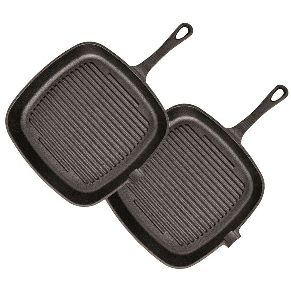 SOGA 2X 23.5cm Square Ribbed Cast Iron Frying Pan Non-stick w/ Handle