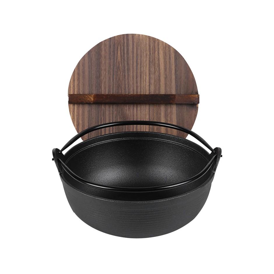 SOGA 25cm Cast Iron Japanese Style Sukiyaki Tetsu Nabe Shabu Hot Pot w/ Lid