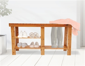 Bamboo Shoe Rack Wooden Bench Storage Or