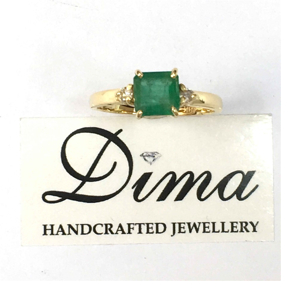 18ct Yellow Gold, 1.67ct Emerald and Diamond Ring