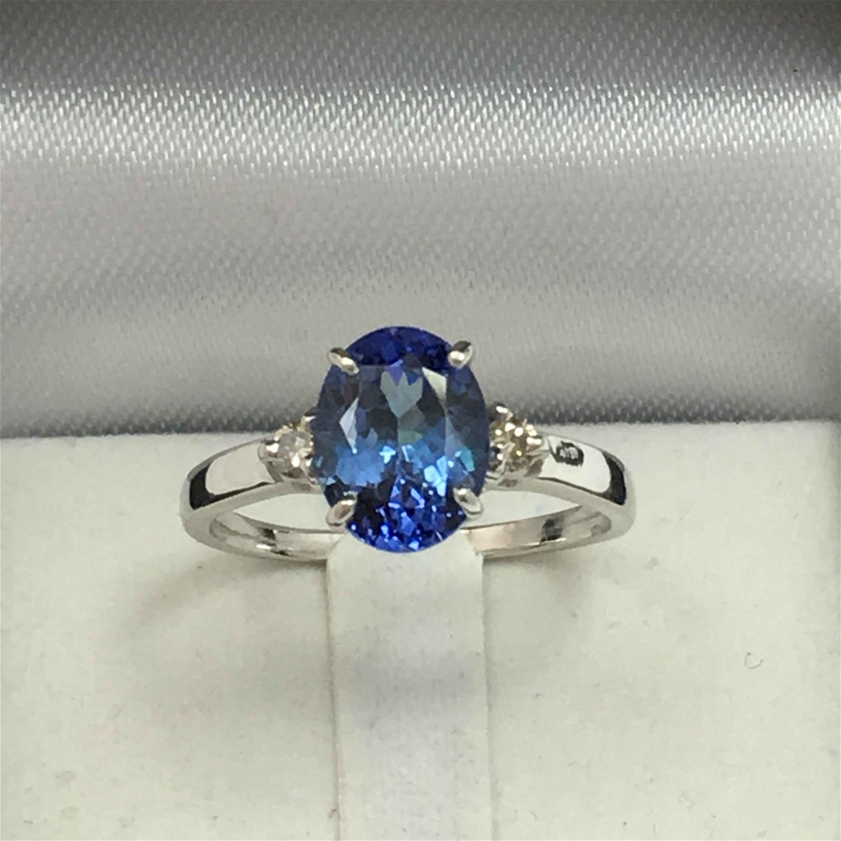 18ct White Gold, 1.32ct Tanzanite and Diamond Ring