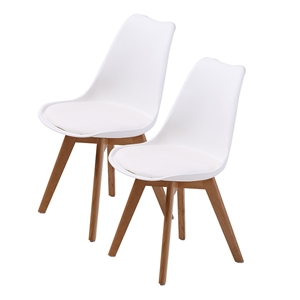 2X Padded Seat Dining Chair - WHITE
