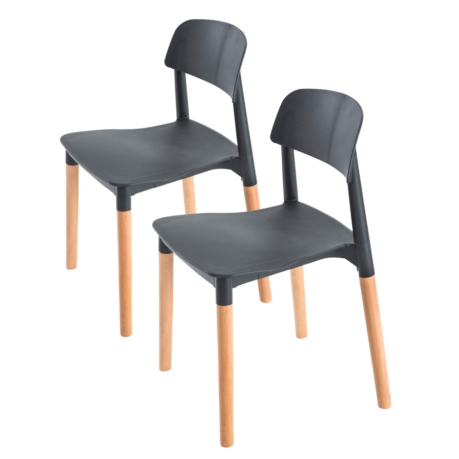 2X Belloch Stackable Dining Chair - BLACK