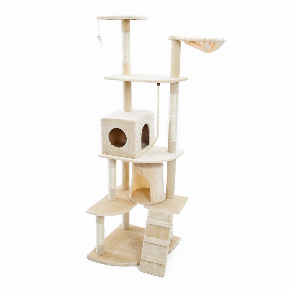 190cm Cat Tree Scratcher ACACIA - BEIGE