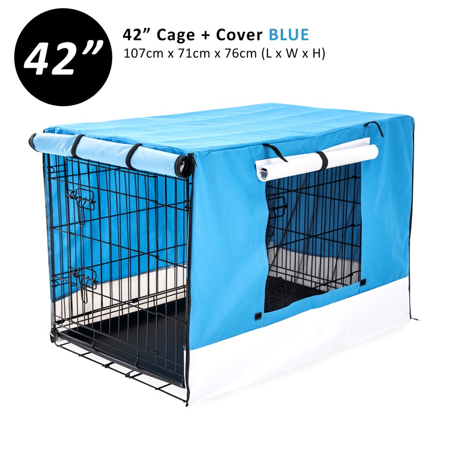 """42"""" Foldable Wire Dog Cage with Tray + BLUE Cover"""