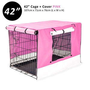 """42"""" Foldable Wire Dog Cage with Tray + P"""