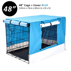 """48"""" Foldable Wire Dog Cage with Tray + B"""