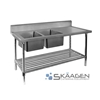 Unused Double Left 1700 x 600 Stainless Steel Sink FSA-2-1700L