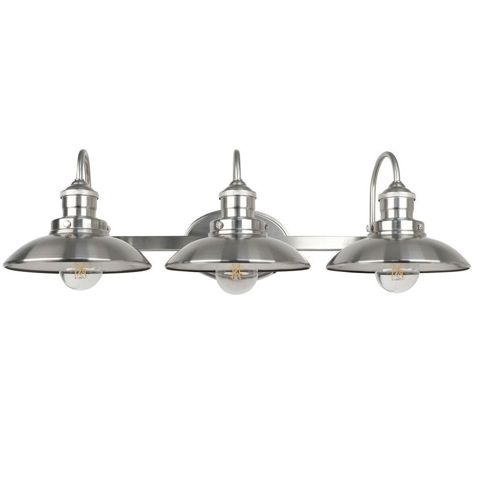 FEIT 3-Light LED Vintage Vanity Wall Lamp in Brushed Nickel Finish. (SN:CC4