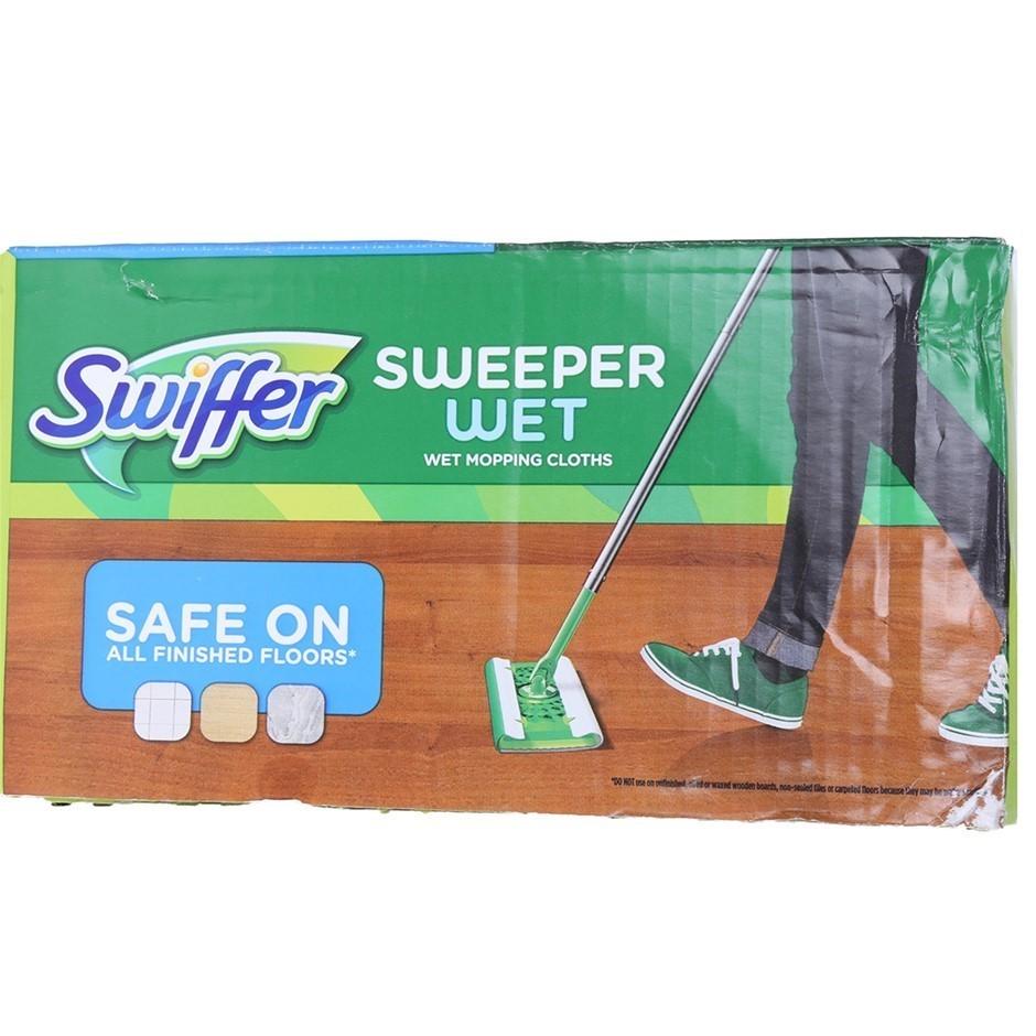 SWIFFER 64pk Wet Mopping Cloths (25.4 x 20.3cm). N.B. Packaging damaged. (S