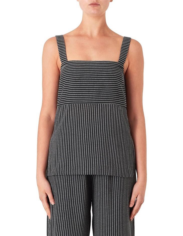 VIKTORIA & WOODS Cedar Top. Size 0, Colour: Black Viva Stripe. Tencel, Poly
