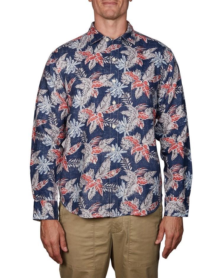 TOMMY BAHAMA Faded Palms. Size XL, 100% Linen, Long Sleeve Shirt, Colour: D