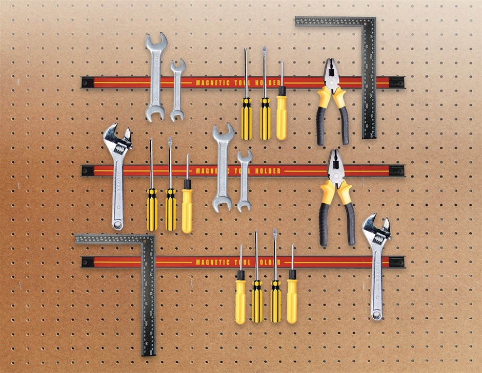 3 x 61cm Magnetic Wall Mounted Tool Holder Storage Garage Workshop