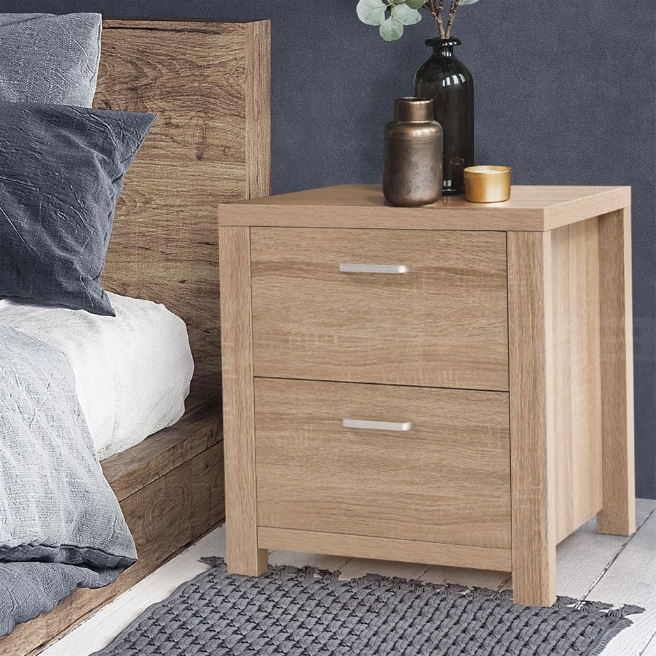 Artiss Bedside Table Lamp Side Tables Drawers Nightstand Unit Beige Wood
