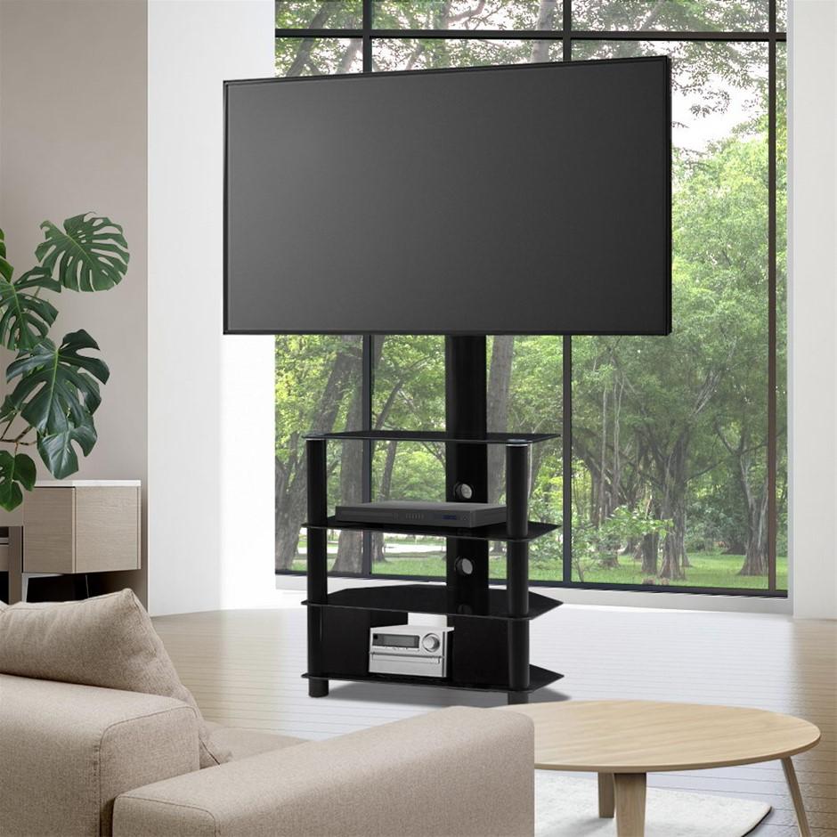 Artiss TV Mount Stand Swivel Bracket 3 Tier Floor Shelf 32 to 50 inch