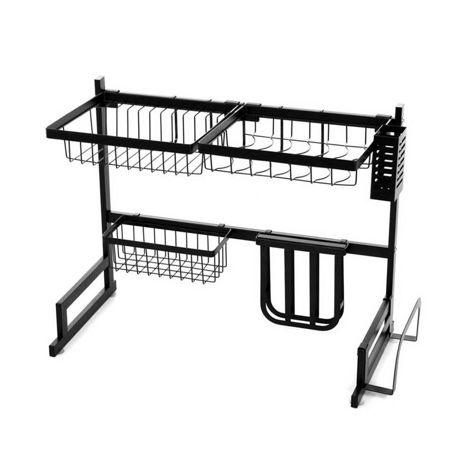 2-Tier 65cm Stainless Steel Kitchen Shelf Organizer Dish Drying Rack