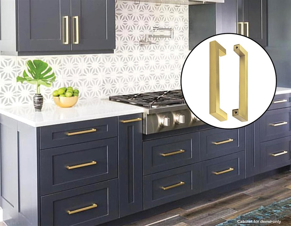 15x Brushed Brass Drawer Pulls Kitchen Cabinet Handles - Gold Finish 192mm