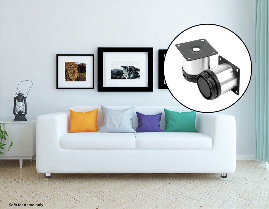 4x 8cm Adjustable Round Cupboard Table Sofa Bed Feet Furniture Leg