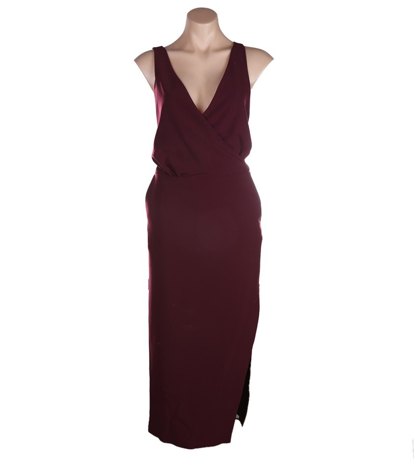 VIKTORIA & WOODS Providence Cross Back Dress. Size 2, Colour: Burgundy. ORP