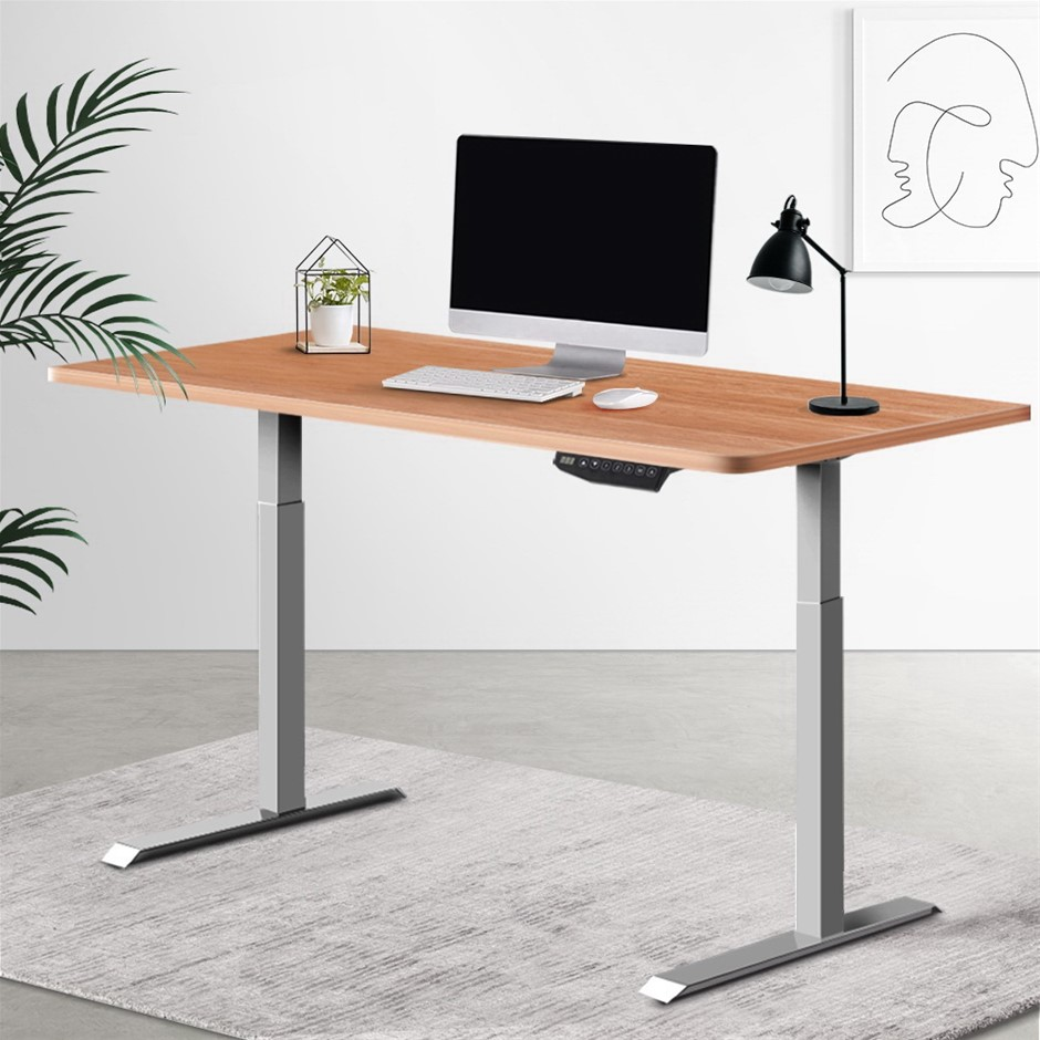 Artiss Standing Desk Sit Stand Table Riser Wooden Computer Desks Motorised