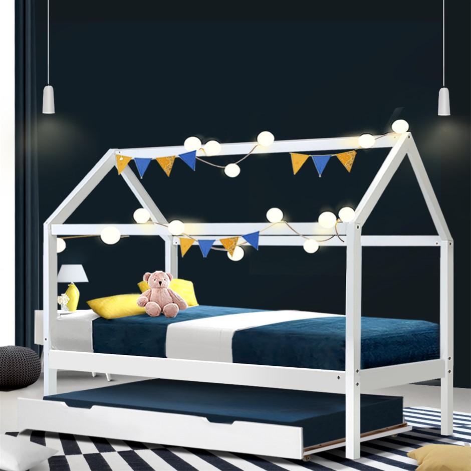 Artiss Wooden Bed Frame Single Size Trundle Mattress Base Timber Platform